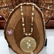 Mother Of Pearl Disc Healing Pendant Necklace